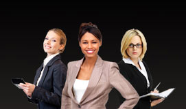 3 professionally dressed business women